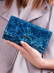 Niebieski wzorzysty portfel damski