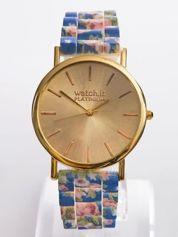 Niebieski zegarek z kwiatowym paskiem