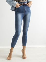 Niebieskie jeansowe rurki z wysokim stanem