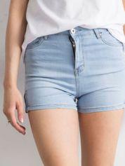 Niebieskie jeansowe szorty z bocznymi suwakami
