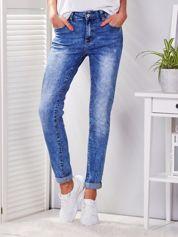 Niebieskie jeansy regular przecierane PLUS SIZE