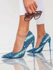 Niebieskie matowe szpilki z wężowym motywem