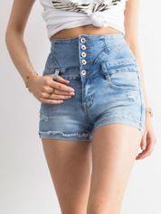 Niebieskie szorty high waist z guzikami