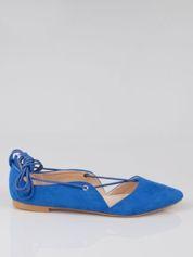 Niebieskie zamszowe wiązane baleriny lace up