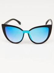 Okulary  LUSTRZANE KOCIE OCZY RETRO niebieskie