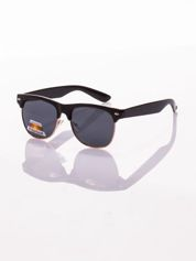 POLARYZACJA Czarne okulary przeciwsłoneczne typu CLUBMASTER + GRATISY