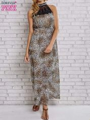 Panterkowa sukienka maxi z koronkowym półgolfem