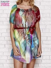 Patchworkowa sukienka mgiełka z paskiem