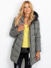 Pikowana kurtka zimowa z kapturem khaki