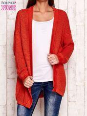 Pomarańczowy fakturowany otwarty sweter