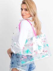 Przezroczysta torba damska we flamingi