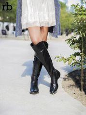 ROCCOBAROCCO czarne skórzane kozaki genuine leather do kolan z asymetryczną cholewką