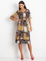 RUE PARIS Żółto-czarna sukienka Calm