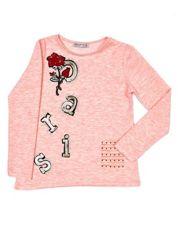 Różowa bluzka dziewczęca cut out z naszywkami i surowym wykończeniem