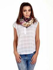 Różowa chusta w patchworkowe wzory