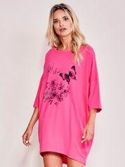 Różowa dresowa sukienka oversize