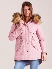 Różowa ocieplana kurtka parka z kapturem