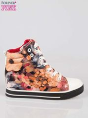 Różowe kwiatowe sneakersy Flora