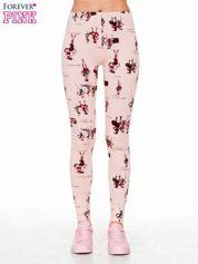 Forever Pink Różowe legginsy z nadrukiem kobiet w stylu retro