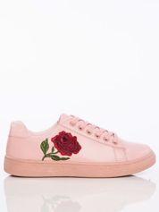 Różowe skórzane trampki Rossi z haftowaną różą faux leather
