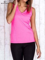 Różowy gładki sportowy top na szerokich ramiączkach