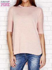 Różowy melanżowy t-shirt z dłuższym tyłem