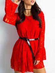 SCANDEZZA Czerwona koronkowa sukienka