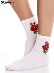 STEVEN Skarpety białe bawełniane z folkowym kwiatkiem