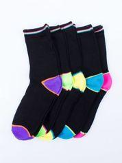 Skarpetki damskie czarne kolorowa stopa i palce mix 5 par