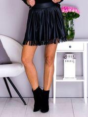Spódnica damska skórzana z frędzelkami czarna