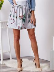 Spódnica szara w kwiaty