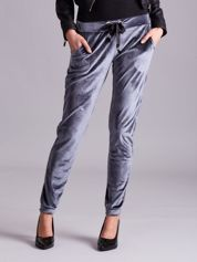 Spodnie damskie z weluru szare