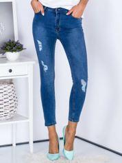 Spodnie jeansowe niebieskie high waist z przetarciami