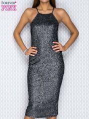 Srebrna dopasowana sukienka w drobny prążek