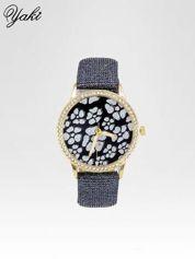 Srebrny zegarek damski na błyszczącym paski z cyrkoniami na kopercie