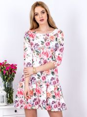 Sukienka biała floral print z szeroką falbaną