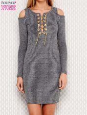 Sukienka cut out szara z wiązaniem przy dekolcie