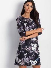 Sukienka czarna floral print