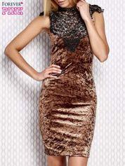 Sukienka damska welurowa z koronką brązowa