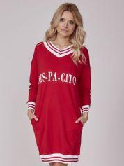 Sukienka damska z napisem DES-PA-CITO czerwona