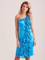 Sukienka koktajlowa na jedno ramię niebieska