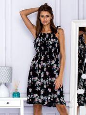 Sukienka letnia z nadrukiem kwiatowym i wiązaniem czarna