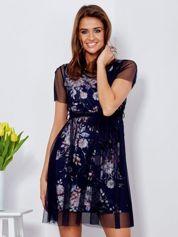 Sukienka warstwowa z kwiatowym motywem granatowa