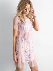 Sukienka warstwowa z kwiatowym motywem jasnoróżowa