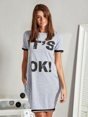 Sukienka z napisem IT'S OK! i dżetami szara