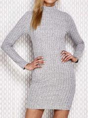 Sukienka z półgolfem szara prążkowana