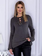 Sweter V-neck lace up ciemnoszary