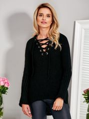 Sweter V-neck lace up czarny