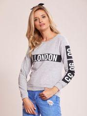 Szara bawełniana bluza LONDON z napisem