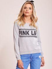 Szara bluza bawełniana z nadrukiem PINK LIFE